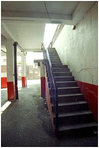 Stairs leading to the upper part on the Tivoli stand