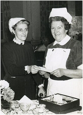Matron making retirement presentation to Ivy Carr in 1965.  Photo: Barbara & Ken Carr