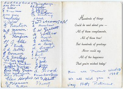 Ivy's retirement card signed by all 50 patients of ward 13. Photo: Barbara & Ken Carr